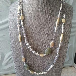 """Premier Designs matte gold & silver necklace 38"""""""